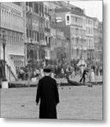Venetian Priest And Gondola Metal Print