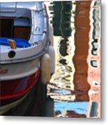 Venice Boat Reflection Metal Print