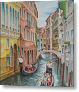 Venice Waterway  Italy Metal Print by Charles Hetenyi