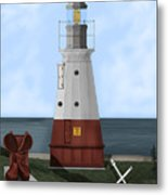 Vermillion River Lighthouse On Lake Erie Metal Print