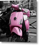 Vespa In Pink Metal Print by Edward Myers
