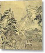 View From The Keyin Pavilion On Paradise - Baojie Mountain Metal Print by Wang Wen