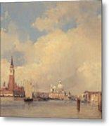 View In Venice With San Giorgio Maggiore Metal Print by Richard Parkes Bonington