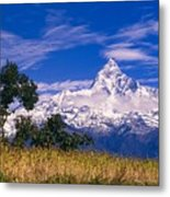View Of Machhapuchhare From Sarangkot Metal Print