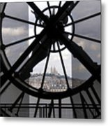 View Of Montmartre Through The Clock At Museum Orsay.paris Metal Print by Bernard Jaubert
