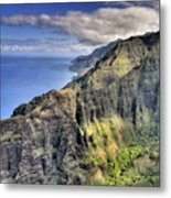 View Of The Nualolo Valley - Kauai Metal Print