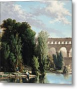View Of The Pont Du Gard Metal Print
