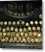 Vintage Antique Typewriter - Text Me - Antique Typewriter Keys Print Black And Gold Metal Print