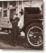 Vintage Car And Old Fashioned Girl Metal Print