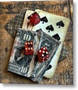 Vintage Cards Dice And Cash Metal Print