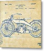Vintage Harley-davidson Motorcycle 1924 Patent Artwork Metal Print by Nikki Smith