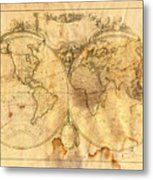 Vintage Map Of The World Metal Print by Michal Boubin