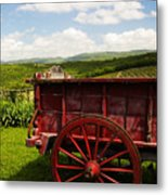 Vintage Red Wagon Metal Print