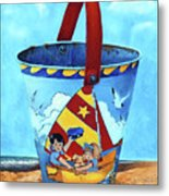 Vintage Tin Sand Bucket Metal Print