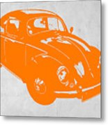 Vw Beetle Orange Metal Print by Naxart Studio