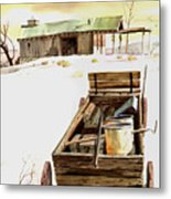 Wagon At White Sands Metal Print