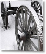 Wagon Wheels In Snow Metal Print
