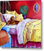 Waiting For Mom - Dachshund Metal Print by Lyn Cook