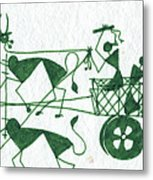 Warli Farmers In Bullock Cart Metal Print