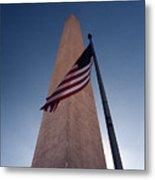 Washington Monument Single Flag Metal Print
