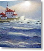 Watch Hill Lighthouseri In Breaking Sun Metal Print