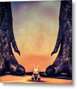 Watch Out Little Bunny Metal Print by Bob Orsillo