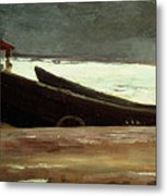 Watching A Storm On The English Coast Metal Print