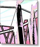 Water Tower In Pink Abstract Metal Print