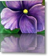 Watery African Violet Reflection Metal Print