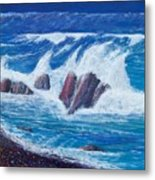 Wave Crashing Metal Print
