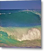 Waves And Surfer In Morning Light 2 Metal Print