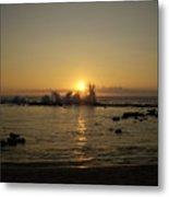 Waves And The Sun Setting Metal Print