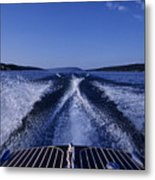 Waves Left In The Wake Of A Boat Metal Print