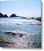 Waves On The Mid Beach Rocks At Zipolite  Metal Print