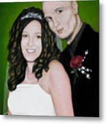 Wedding Portrait Of Clint And Ashley Metal Print