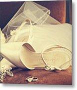 Wedding Shoes With Veil On Velvet Chair Metal Print by Sandra Cunningham