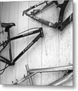 Well Worn Mountain Bike Frames  Metal Print by Gray  Artus