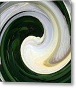 White And Green Swirls Metal Print
