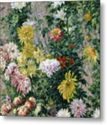 White And Yellow Chrysanthemums Metal Print by Gustave Caillebotte