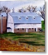 White Barn On A Cloudy Day Metal Print