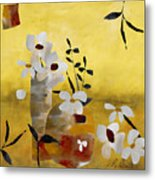 White Floral Collage II Metal Print