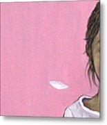 White Gerbera On Pink Metal Print