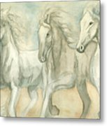 White Horses Metal Print by Delores Swanson