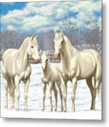 White Horses In Winter Pasture Metal Print by Crista Forest