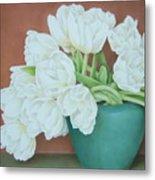 White Tulilps In Blue Vase Metal Print