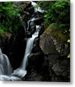 White Water Black Rocks Metal Print
