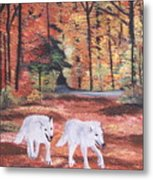 White Wolves Passing Through Metal Print
