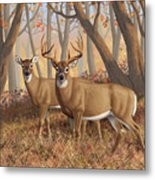 Whitetail Deer Painting - Fall Flame Metal Print by Crista Forest