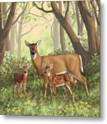 Whitetail Doe And Fawns - Mom's Little Spring Blossoms Metal Print