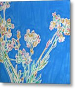 Wild Flowers On Blue Metal Print
